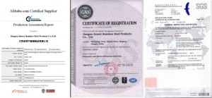 Quality Certificates of jawaysteel